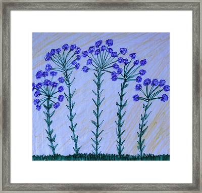 Purple Flowers On Long Stems Framed Print