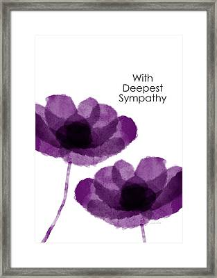 Purple Flowers Sympathy Card- Art By Linda Woods Framed Print