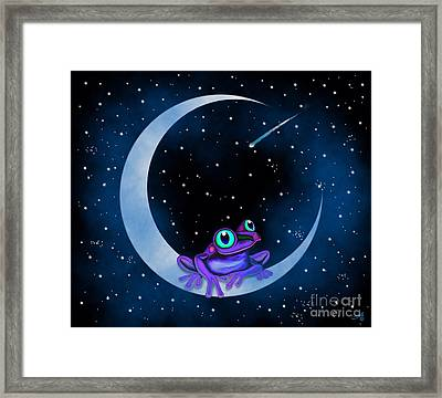 Framed Print featuring the painting Purple Frog On A Crescent Moon by Nick Gustafson