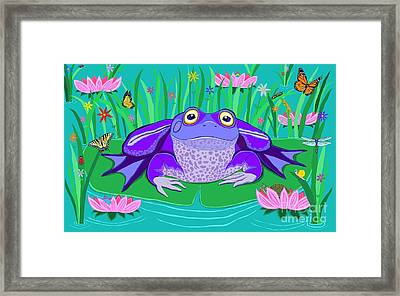 Purple Frog On A Lily Pad Framed Print by Nick Gustafson