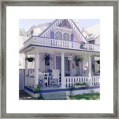 Purple Gingerbread House Framed Print by Rose Martin