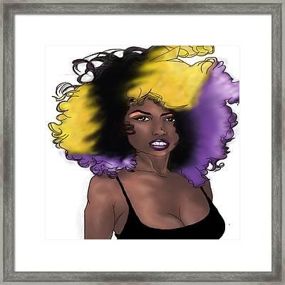 Framed Print featuring the digital art Purple Girl by Jayvon Thomas