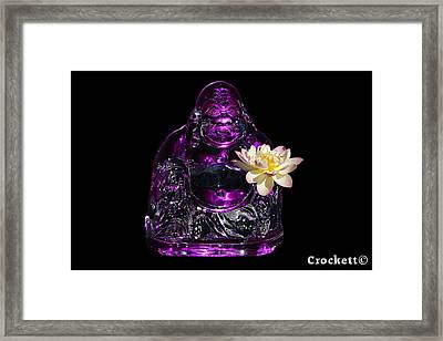 Purple Glass Buddah With Yellow Lotus Flower Framed Print