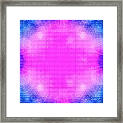 Purple Glowing Quantum Processor On A Binary Code Background Framed Print by Dani Prints and Images