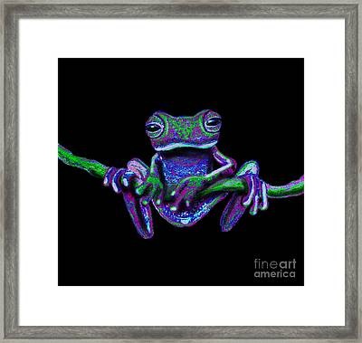 Purple Green Ghost Frog Framed Print by Nick Gustafson