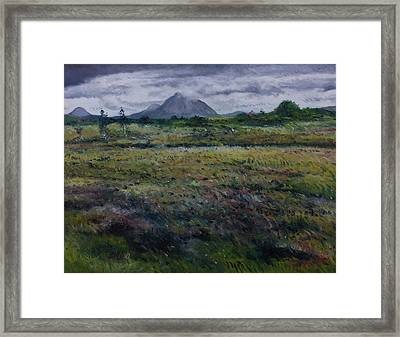 Purple Heather And Mount Errigal From Dore Co. Donegal Ireland   Framed Print
