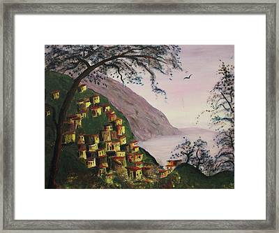 Purple Hill And Yellow Homes Framed Print by Suzanne  Marie Leclair