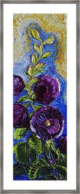 Purple Hollyhocks Framed Print by Paris Wyatt Llanso