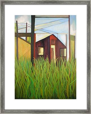 Purple House In A Green Field Framed Print by Ron Erickson