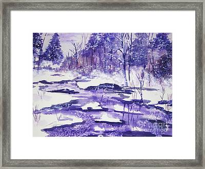 Framed Print featuring the painting Purple Ice On Kaaterskill Creek by Ellen Levinson