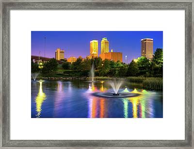 Purple In The Sky - Downtown Skyline Of Tulsa Framed Print