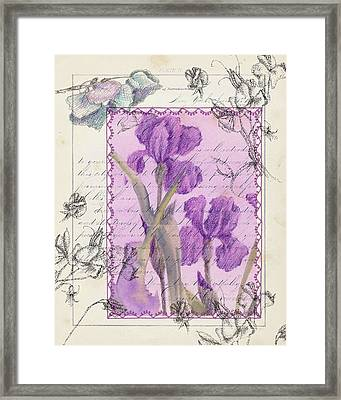Framed Print featuring the drawing Purple Iris by Cathie Richardson