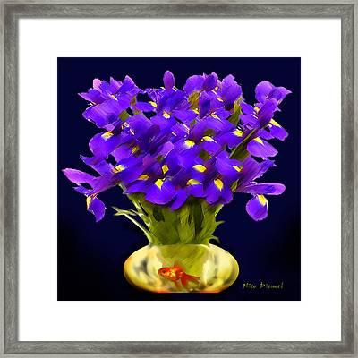 Purple Irises And Goldfish Framed Print by Nick Diemel