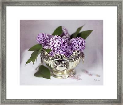 Purple Lilacs In Silver Bowl Framed Print