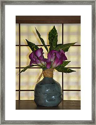 Purple Lilies In Japanese Vase Framed Print by Bill Cannon