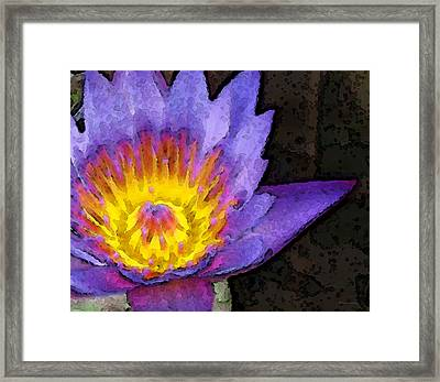 Purple Lotus Flower - Zen Art Painting Framed Print by Sharon Cummings