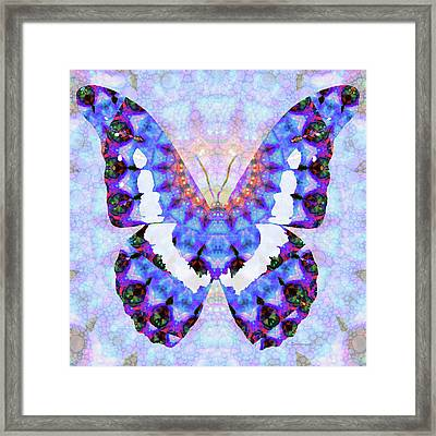 Purple Mandala Butterfly Art By Sharon Cummings Framed Print by Sharon Cummings