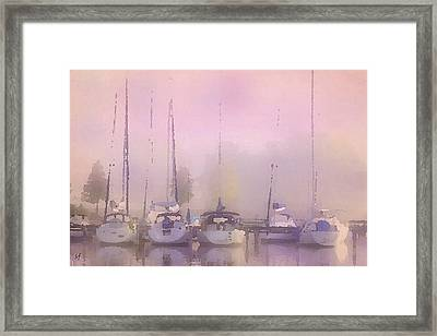 Framed Print featuring the digital art Purple Marina Morning by Shelli Fitzpatrick