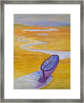 Purple Marsh Boat Framed Print by Barbara McDevitt