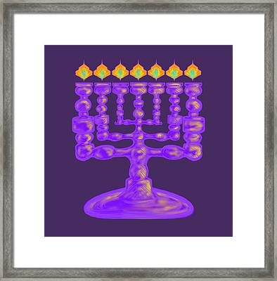 Purple Menorah Flamed Framed Print