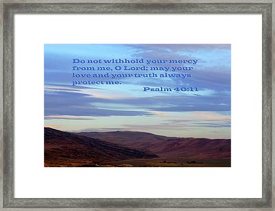 Purple Mountain Majesty Ps. 40 V 11 Framed Print by Linda Phelps