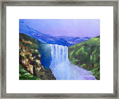 Framed Print featuring the painting Purple Mountains by Saundra Johnson
