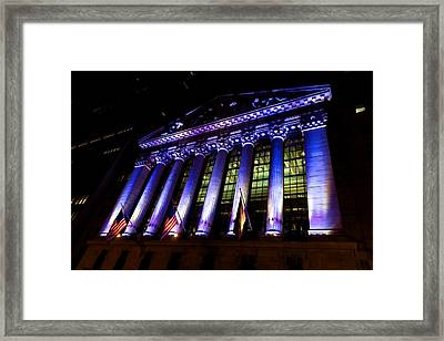 Purple New York Stock Exchange At Night - Impressions Of Manhattan Framed Print