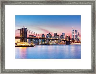 Purple Nyc Sunset Framed Print