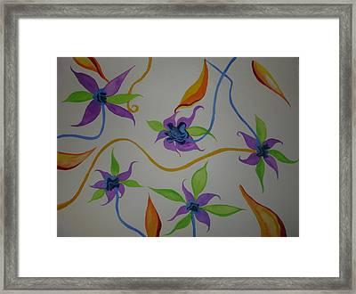 Framed Print featuring the painting Purple-orange Flowers by Erika Swartzkopf
