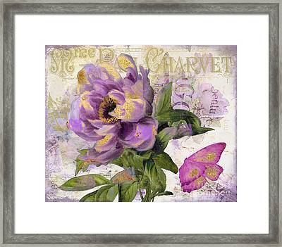 Purple Peony With Gold Framed Print by Mindy Sommers