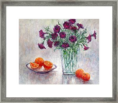Purple Petunias And Oranges Framed Print by Jill Musser