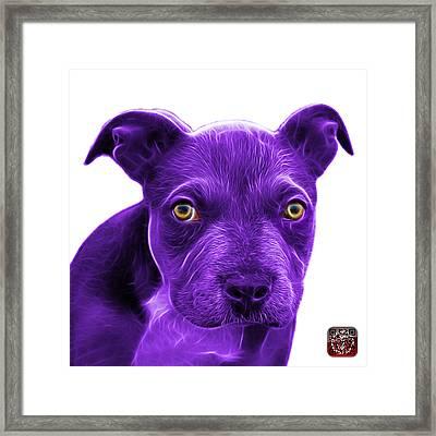 Purple Pitbull Puppy Pop Art - 7085 Wb Framed Print by James Ahn