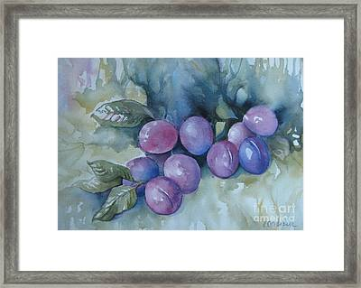 Framed Print featuring the painting Purple Plums by Elena Oleniuc