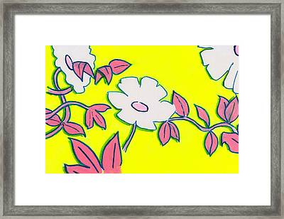 Purple Pointed Petals And Bright White Flowers Against Yellow Framed Print by Mike Jory