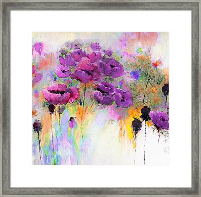 Purple Poppy Passion Painting Framed Print by Lisa Kaiser