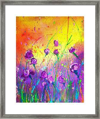 Purple Posies Framed Print