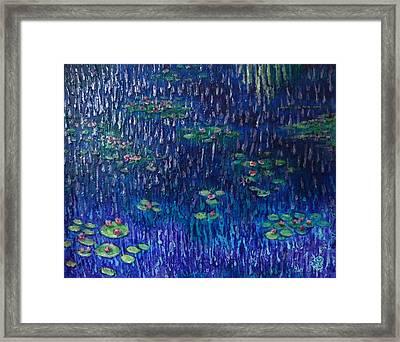 Purple Rain On Water Lilies Framed Print