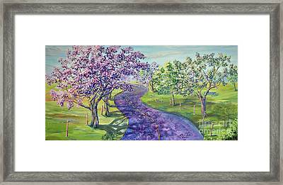 Purple Road - Springtime Framed Print by Malanda Warner