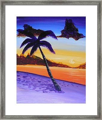 Purple Sand Palm Tree Framed Print