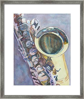 Purple Sax Framed Print by Jenny Armitage