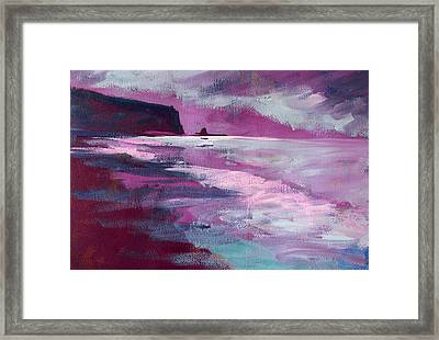 Purple Sea Framed Print by Nancy Merkle