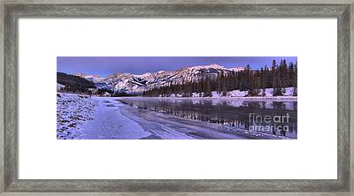 Purple Skies Over The Athabasca River Framed Print