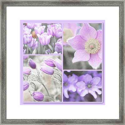 Framed Print featuring the photograph Purple Spring Bloom Collage. Shabby Chic Collection by Jenny Rainbow