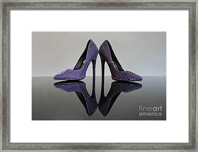 Purple Stiletto Shoes Framed Print by Terri Waters