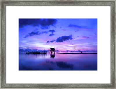 Purple Sunrise Art - Morning Seascape Photography Framed Print by Wall Art Prints