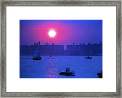 Purple Sunset Off Breezy Point Bayside Framed Print