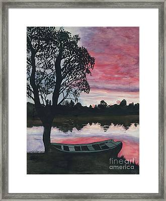 Purple Sunset With Boat Framed Print by Patty Vicknair