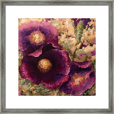 Purple Trio-flowers Framed Print