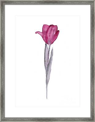 Purple Tulip Botanical Artwork Poster Framed Print by Joanna Szmerdt