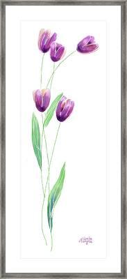 Purple Tulips Framed Print by Arline Wagner